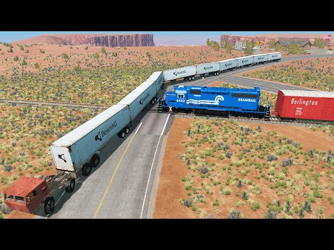 Long Giant Semi-Truck Vs. Train Accidents | Beamng Drive Crashes - Dancing Cars |