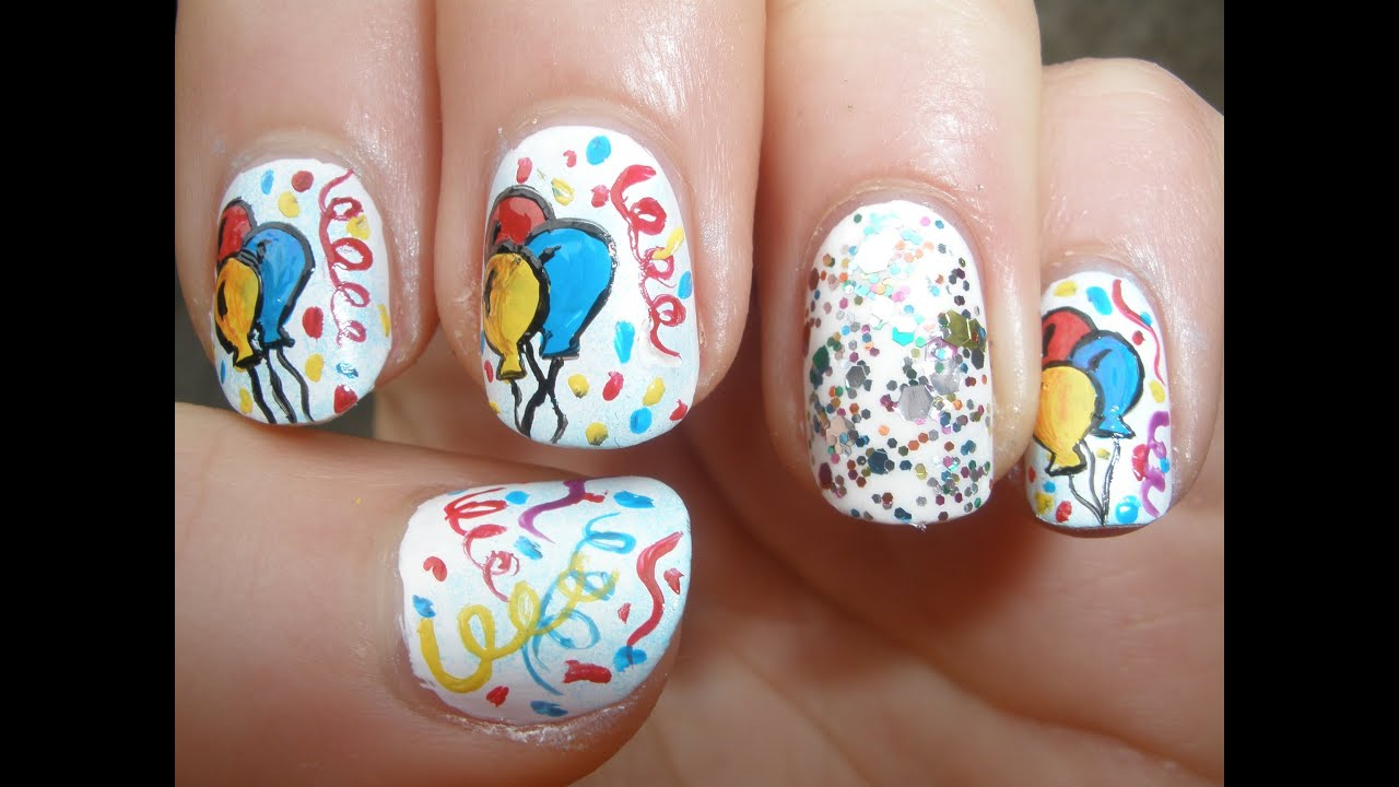 birthday party nail art tutorial