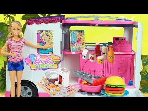 Barbie Yemek Karavanı   Yeni Barbie Oyuncak Videoları   Evcilik TV