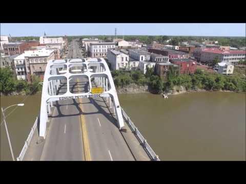 Aerial view Edmund Pettus Bridge Selma, Alabama DJI Phantom 3