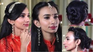 Indian Party Hairstyles (Heatless) / Bun Hairstyle for Medium/Long Hair on Lehenga/Saree