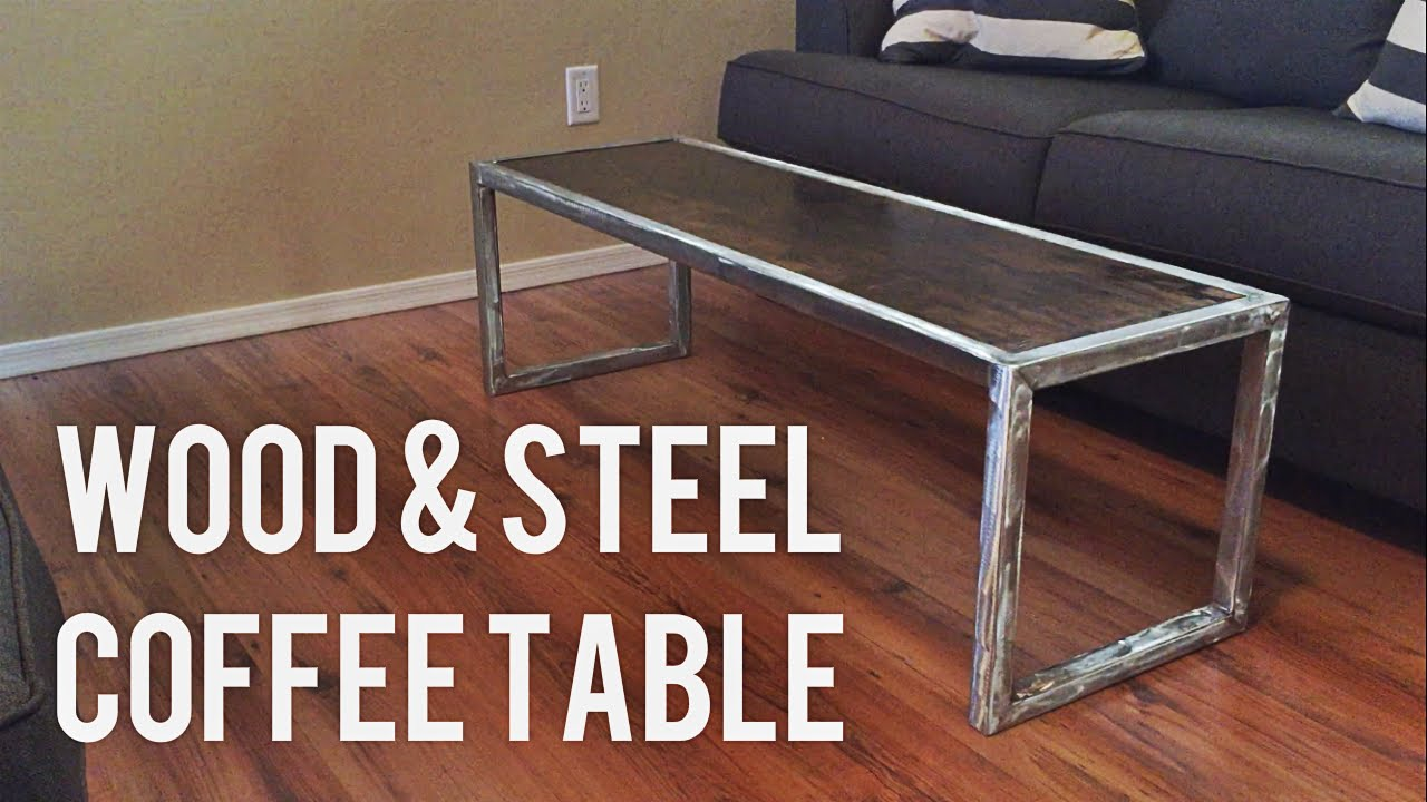 Diy Modern Coffee Table Wood Steel Youtube