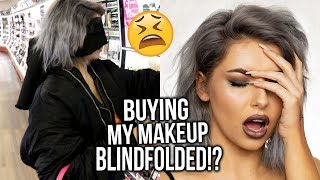 BIRD BOX MAKEUP CHALLENGE!? BUYING MY FULL FACE OF MAKEUP BLINDFOLDED! FIRST IMPRESSIONS!