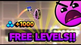 Free Levels!! Secret Way!! +1000 orbes / Geometry Dash 2.1