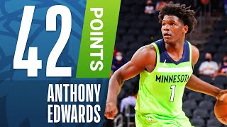 Minnesota timberwolves rookie, anthony edwards, tallied a career-high 42 pts against the phoenix suns as he led min to road victory! subscribe nba: ...