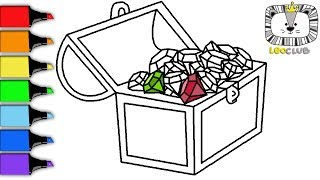How to Draw Chest with Diamonds. Learning Coloring Pages for Kids. LEOCLUB