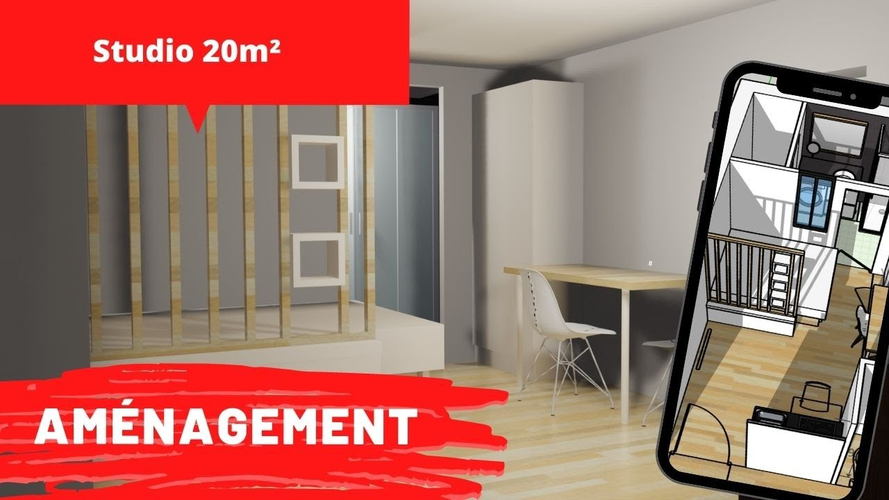 amenagement studio 20m2 avec claustra exemple