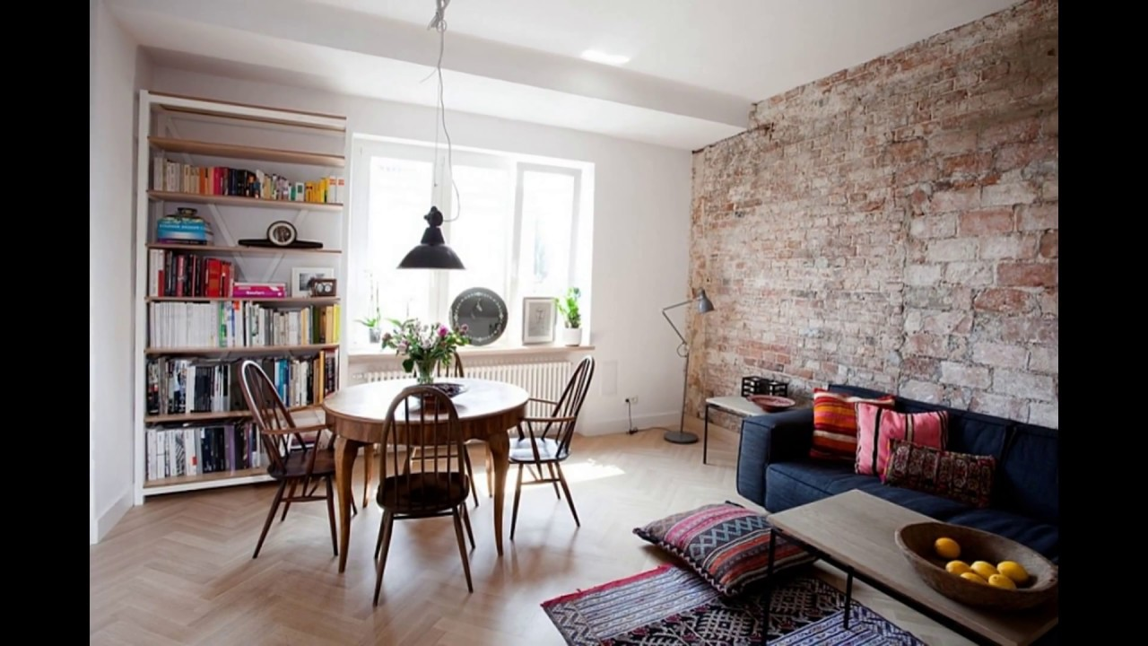 Charming Living Room With Brick Wall Tiles