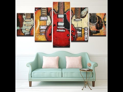 5 Piece Abstract Canvas Wall Art Acoustic Guitar Lover Music Poster Living Room w/Frame