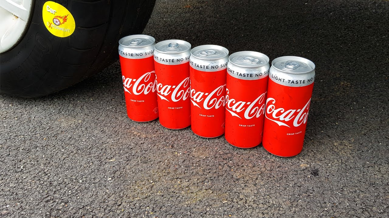 EXPERIMENT: CAR vs Coca Cola Cans ( Coca cola Tins) | Crushing Crunchy & Soft Things by Car!