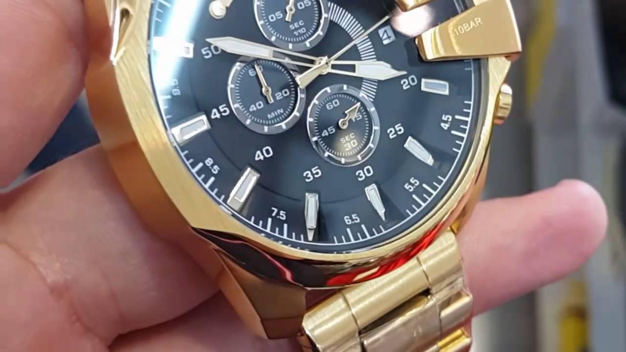 b26471b0efe Relógio Diesel Dourado modelo 10Bar - YouTube