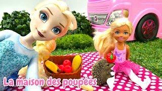 Poupées Elsa et Evi à la pique-nique. Vidéo pour enfants