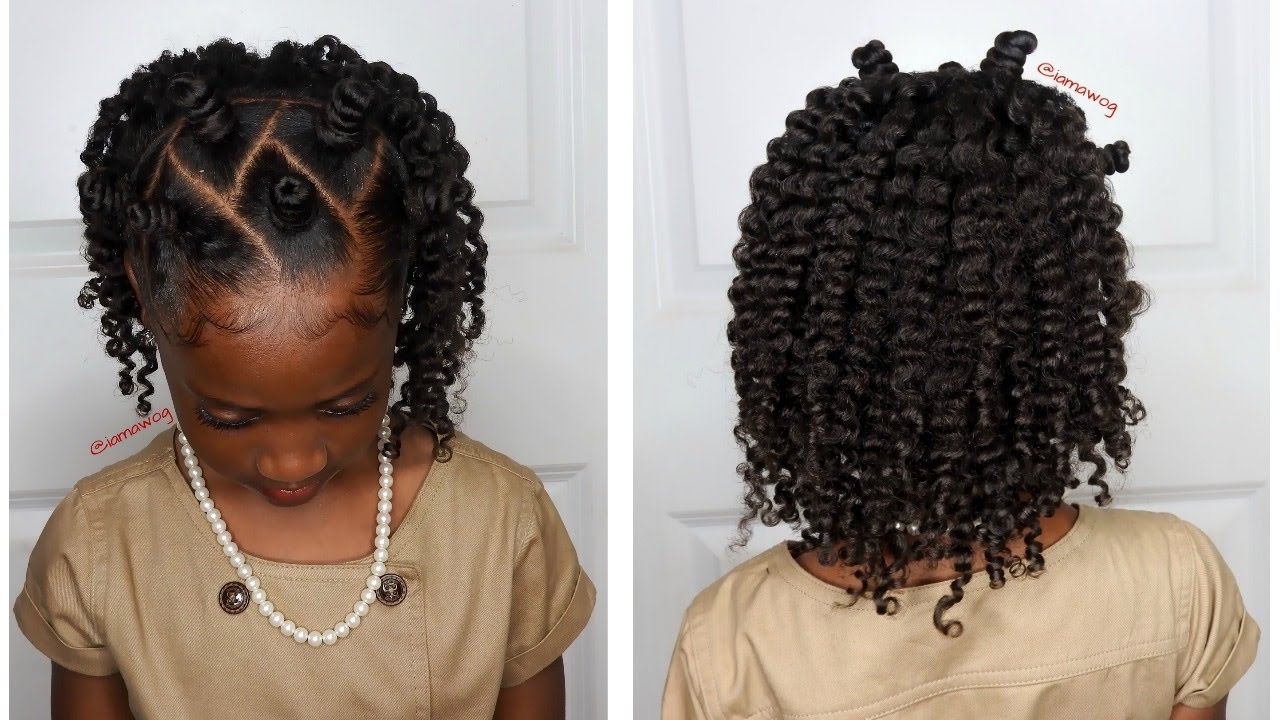 mini bantu knots withtwo-strand twistout