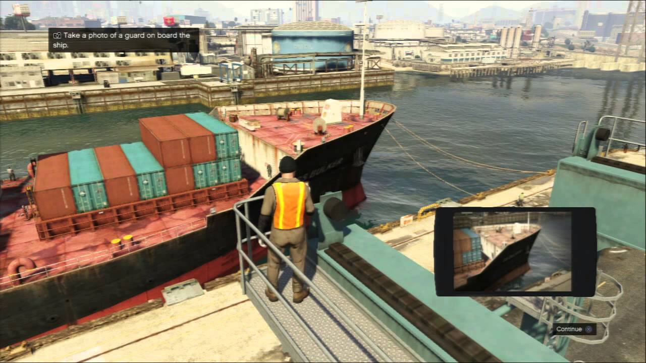 Grand Theft Auto V Scouting The Port Take Pictures On Catwalk Tutorial X Take Photo Square Send