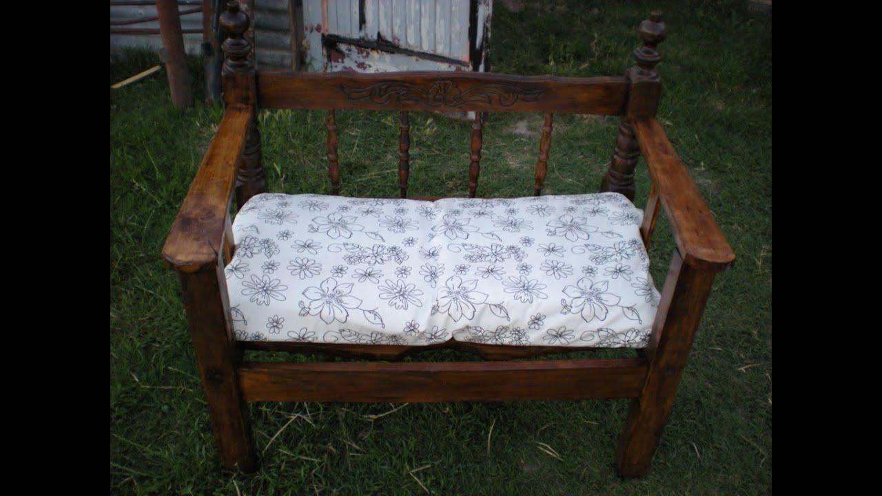 Como hacer un sill n con respaldares de cama youtube - Como hacer un altillo de madera ...