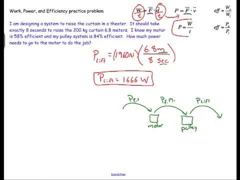 Work, Power, and Efficiency: Sample Physics Problem