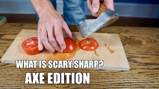 WHAT IS SCARY SHARP?? AXE EDITION | How sharp can you get an axe freehand sharpening?