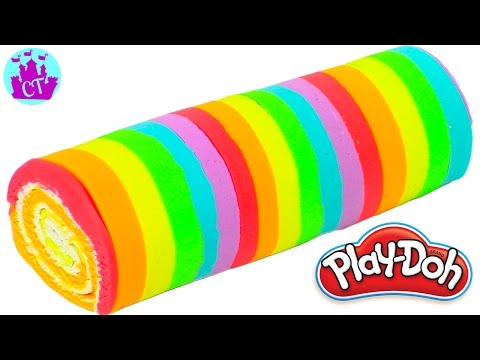 Play Doh Cake and Ice Cream Confections Rainbow Roll Learning Diy Plastilina y Juguetes Castle Toys