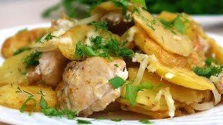 Картофель в духовке с курицей слоями Просто и вкусно