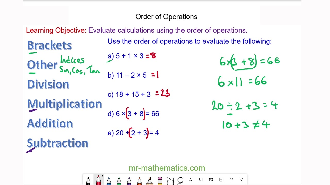 hight resolution of BODMAS and the Order of Operations - Mr-Mathematics.com