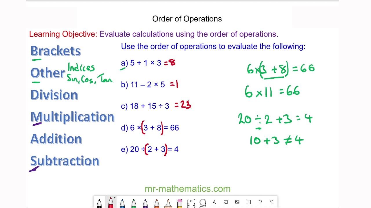 BODMAS and the Order of Operations - Mr-Mathematics.com [ 720 x 1280 Pixel ]