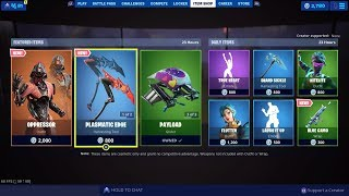 Fortnite New Item Shop Oppressor Skin Angled Fire, Blue Camo Wrap Plasmatic Edge Pickaxe