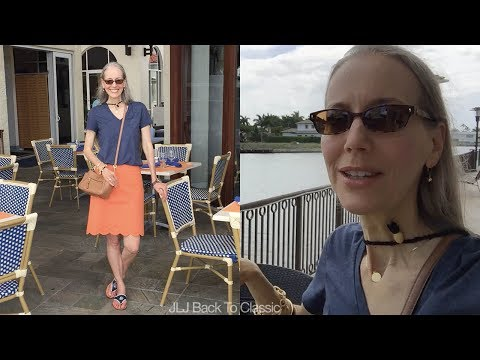 Vlog--Village on Venetian Bay, Naples, FL; Lunch at Fish; OOTD / Classic Fashion, Style Over 40, 50