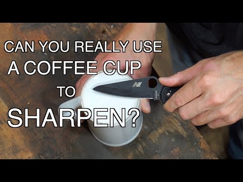 WHAT HAPPENS WHEN YOU TRY TO SHARPEN A KNIFE ON A COFFEE CUP?