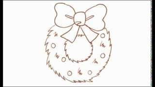 How to Draw a Cartoon Christmas Wreath