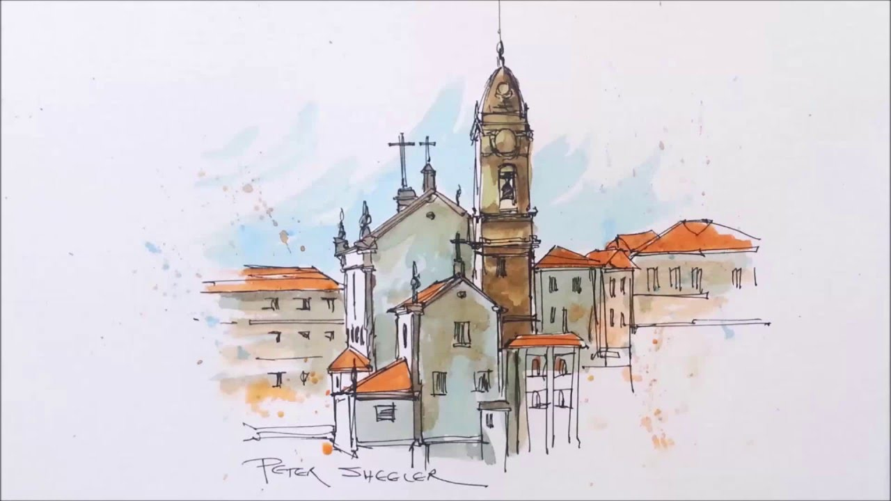 Line Drawing With Watercolor : A water brush demonstration line and wash watercolour of