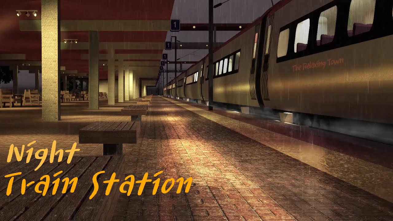 The Ambience of The Train Station on a Rainy Night - 8 Hours Relaxation Rain and Train Sound,Study,