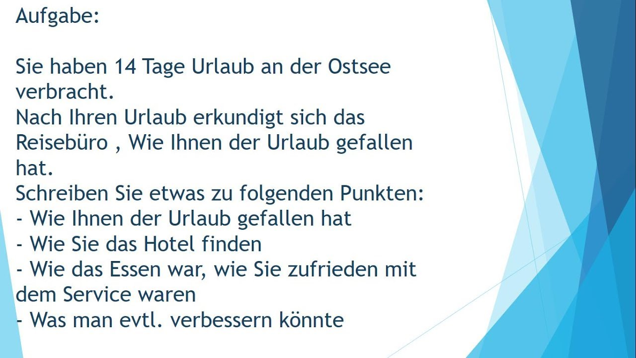 Brief Ans Reisebüro Schriftliche Prüfung B1 Telc Youtube