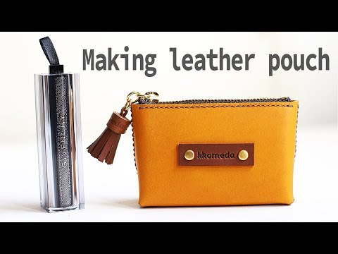 Making leather pouch / DIY coin purse / Leather craft