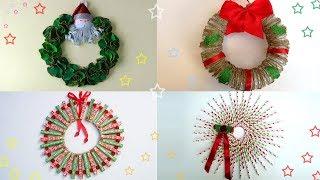 DIY ROOM DECOR! 4 Christmas Wreaths Ana | DIY Crafts
