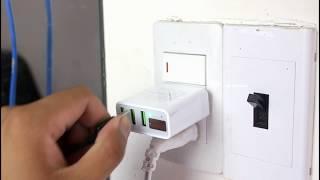 Cốc sạc HOCO: 3 cổng USB, đèn led báo dòng và tự ngắt khi sạc đầy