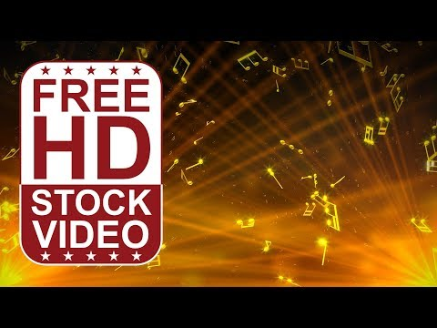 FREE HD video backgrounds –  abstract animated 3D gold notes spining and falling slowly