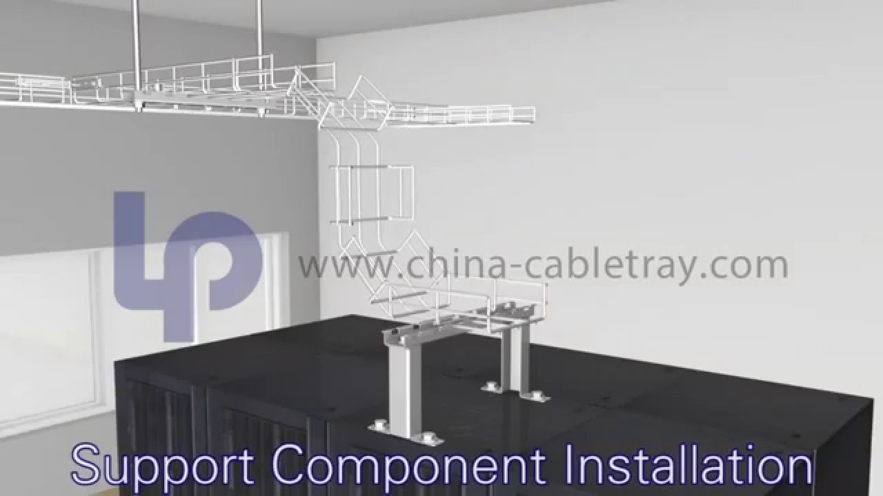 Installation of wire mesh cable tray - YouTube