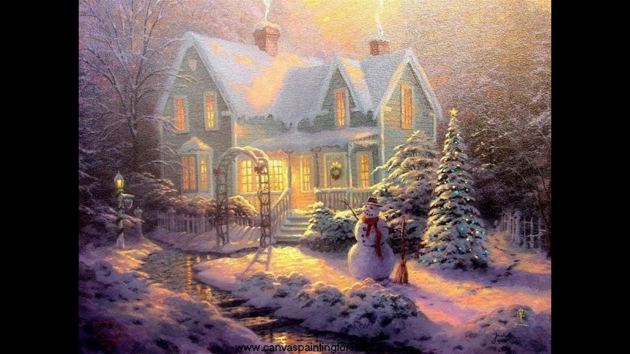 Blessings of christmas by thomas kinkade youtube Christmas card scenes to paint