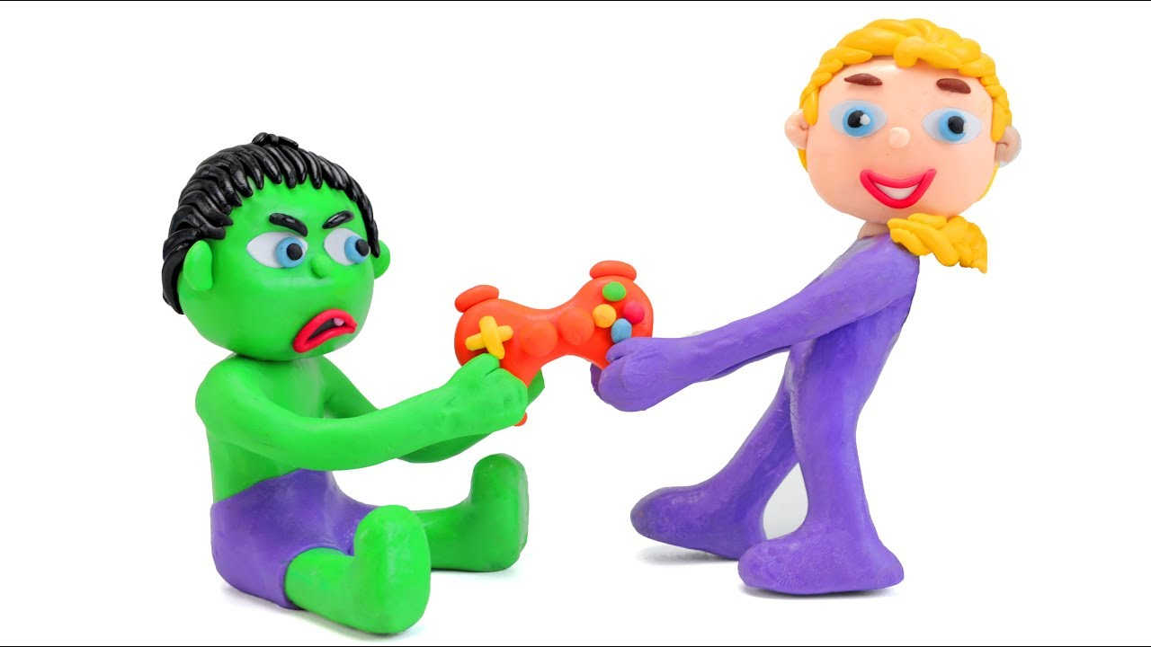 FROZEN ELSA & BABY HULK PLAY WITH PS4 | Superhero Babies Play Doh Stop Motion Movies For Kids