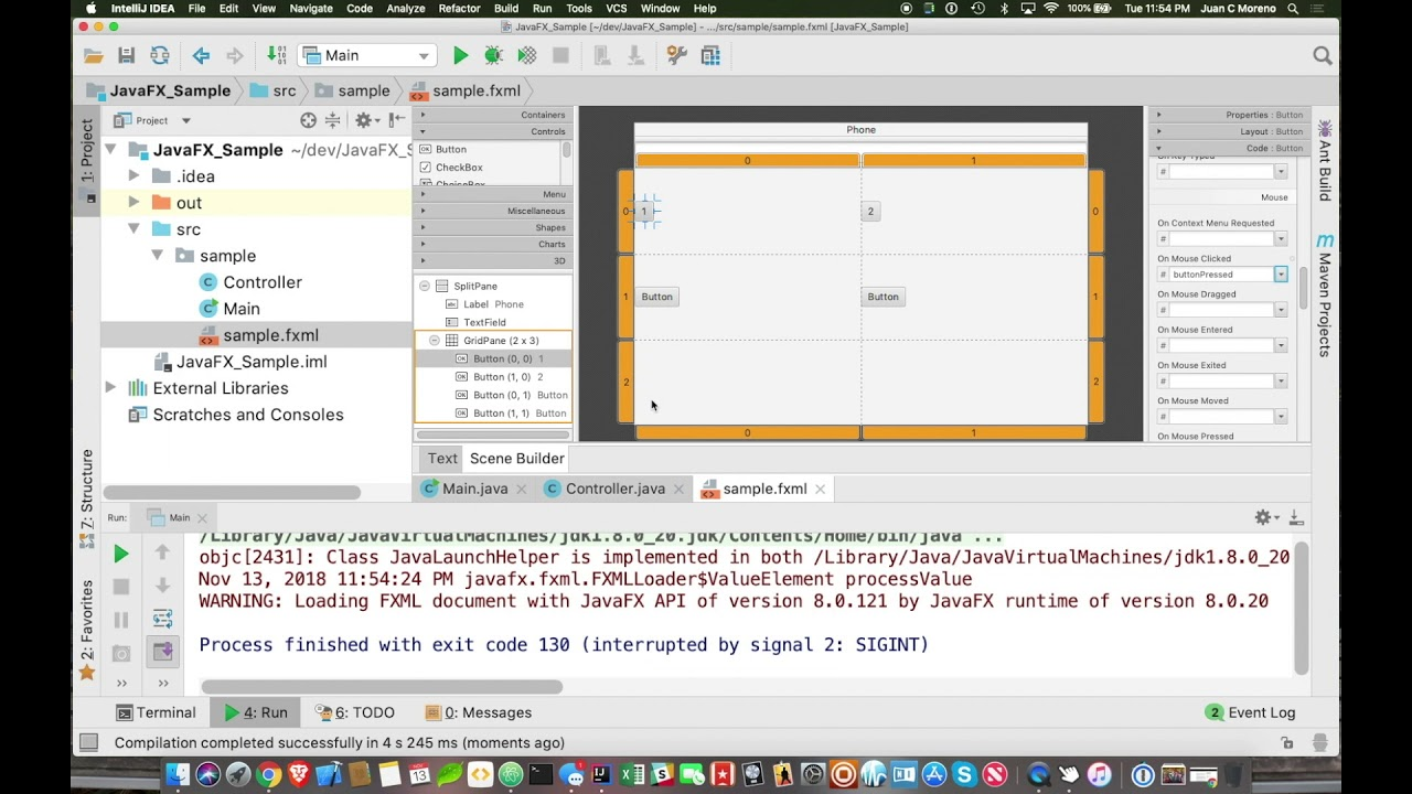 Using JavaFX Scenebuilder and IntelliJ to build a simple application