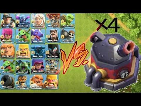 MAX LVL ×4 ROASTER VS ALL SINGLE TROOPS🔥 UNBELIEVABLE BATTLE🤐CLASH OF CLANS💘UNITY CLASH💞