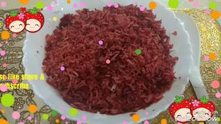 "Zero Oil Cooking recipe ""Beet root Pulao"""