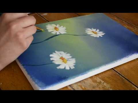Daisies / Semi Abstract Painting / Satisfying Demonstration / Acrylic / Floral / Landscape/ Relaxing