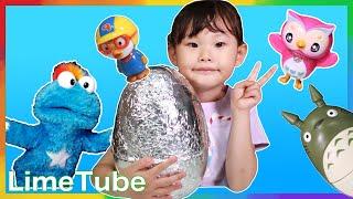 공룡알? 라임이의 빅 서프라이즈 에그 뽀로로 콩순이 장난감 숫자 세기 동요놀이 LimeTube & Toy 라임튜브