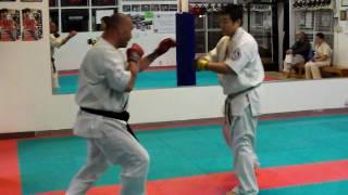 World Oyama Karate San Francisco Dojo : Sensei Saito spars Sempei Moe - Round 2