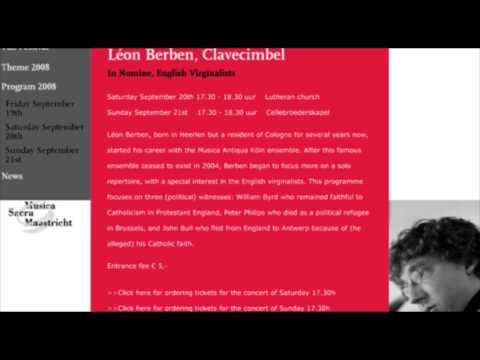 Léon Berben (harpsichord)  Walsingham variations by John Bull Live 19 Sept 2008