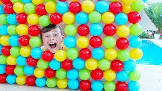 Ali and little sister play funny Hide and Seek in colored balls house for kid videos