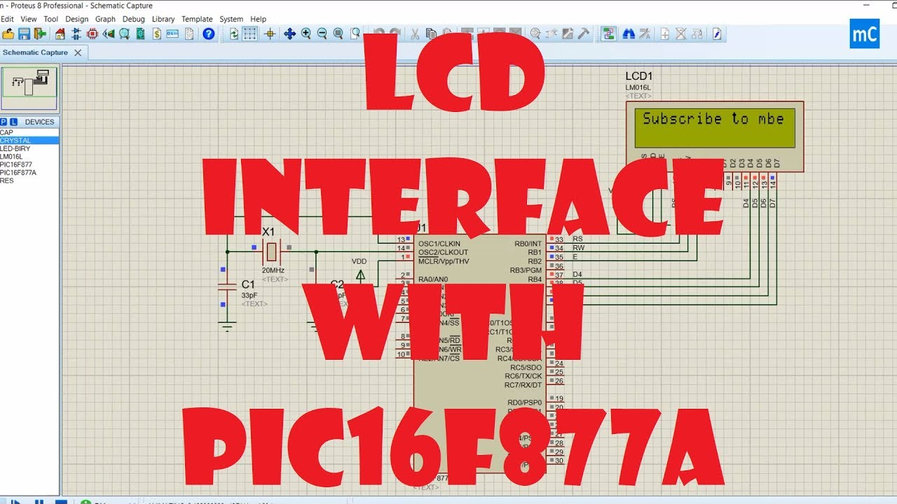 LCD interface with PIC16F877A microcontroller using Proteus Simulation
