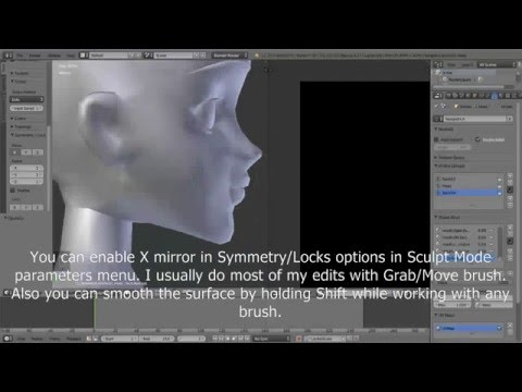 IMVU avatar head editing in Blender.