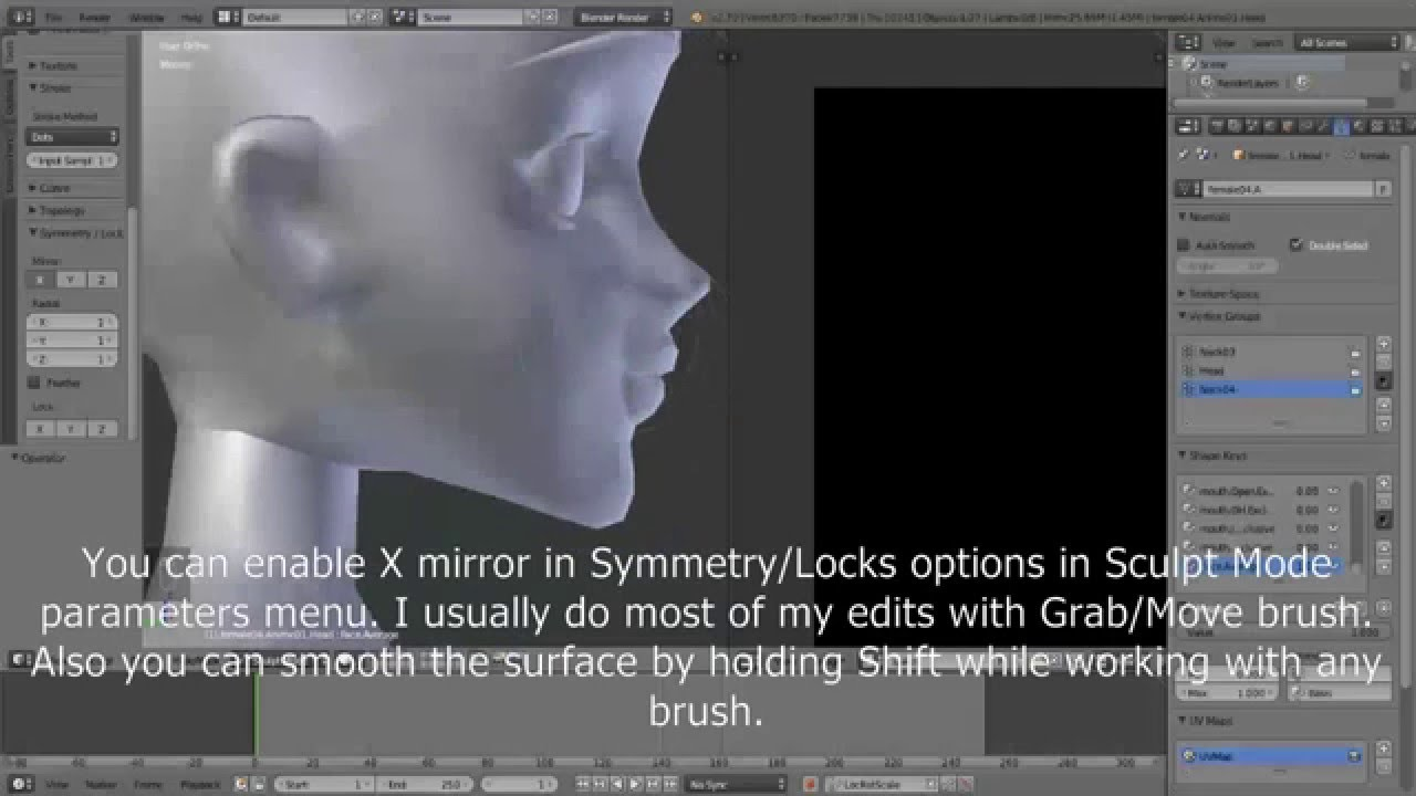 IMVU avatar head editing in Blender